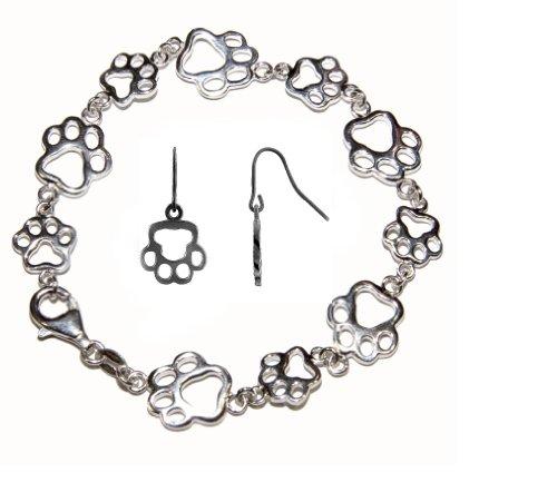 L'argent 925 sterling fabriqués à la main dans les moindres détails Retriever Chien Charm Ensemble Made in UK . ( Retriever Chien Charm + Bracelet + Boucles d'oreilles )
