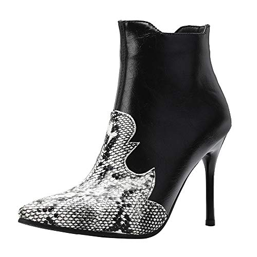 Stiletto Boots High Heels for Women Sexy Snakeskin Faux Leather Pointed-Toe Mixed Color Ankle Booties Sunmoot Black