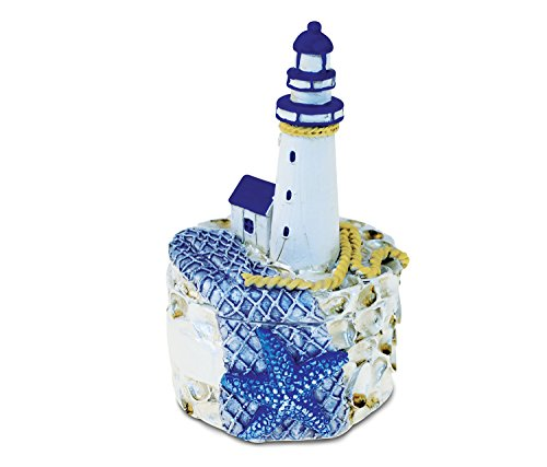 Puzzled Resin Lighthouse with Blue Starfish Jewelry Box, 4.25 Inch Figurine Intricate & Meticulous Detailing Art Trinket Accessory Storage Tabletop Accent Nautical Ocean Sea Life Theme Home Décor