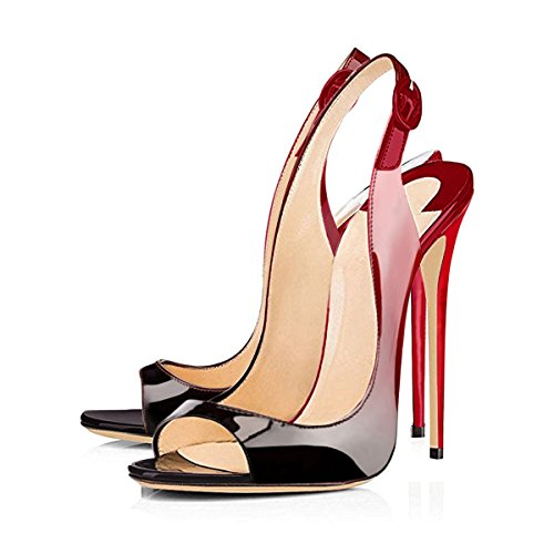 Peep Talons Pumps gback Toe Weinrot2 Stiletto Party Sandales Hauts Slin Onlymaker Yq4zq