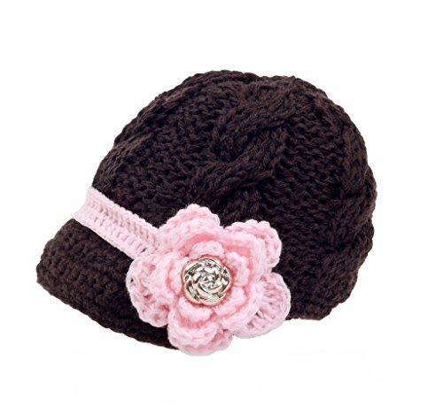 zefen Handknit Newborn Toddler Baby Girls Crochet Knit Brim Cap Hat Lareg Brown Brim Crochet