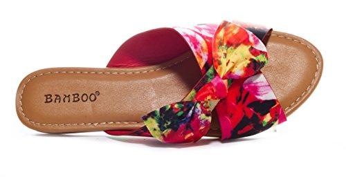 Sandale Plate En Bambou Avec Nœud Floral Rouge