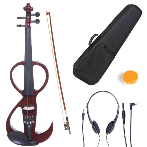 Cecilio 4/4 CEVN-3NA Solid Wood Electric/Silent Violin with Ebony Fittings in Style 3 - Full Size - Mahogany Metallic by Cecilio