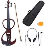 Cecilio 4/4 CEVN-3NA Solid Wood Electric/Silent Violin with Ebony Fittings in Style 3 - Full Size - Mahogany Metallic