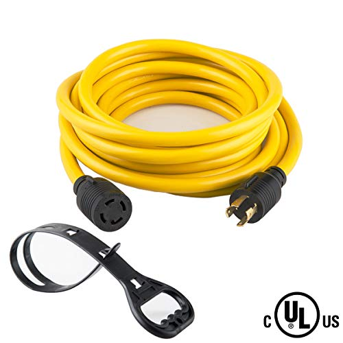 50 FEET Heavy Duty Generator Locking power cord NEMA L14-30P/L14-30R,4 prong 10 Gauge SJTW Cable, 125/250V 30Amp 7500 Watts Yellow Generator Lock Extension Cord With UL listed Yodotek