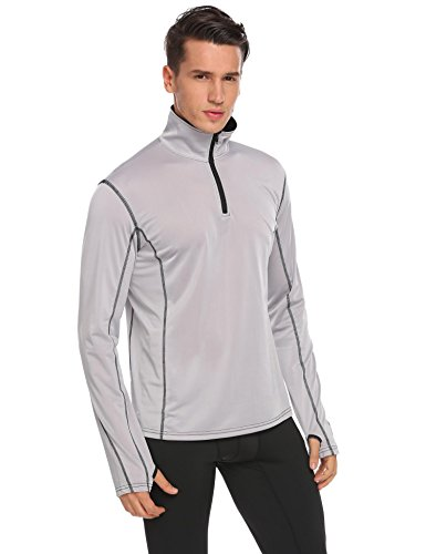 BULGES Men's Long Sleeve Active Quarter-Zip Pullover - Quick Dry Sports Tops - Cycling Jersey Running Training T Shirt Fitness (Pullover Training Top)