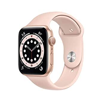 Nyhet Apple Watch Series 6 (GPS) • 44 mm aluminiumboett guld • sportband sandrosa