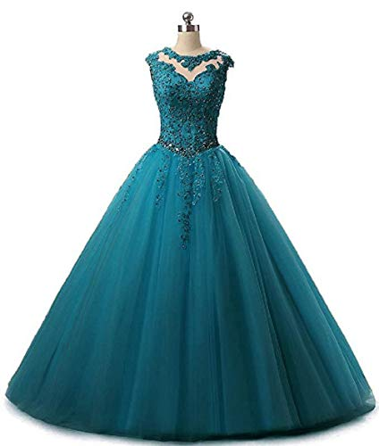 (SHANGSHANGXI Sweet 15 Dresses Long Lace Applique Masquerade Ball Gowns Gala Dress Teal)