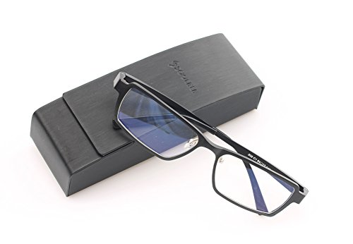 SOOLALA Mens Aluminum-magnesium Alloy Full Frame Best Reading Glasses Quality Readers, Black, 2.0x