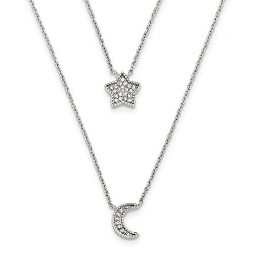 Sterling Silver Double Star (ICE CARATS 925 Sterling Silver Cubic Zirconia Cz Moon Star Double Strand Chain Necklace Sun Fine Jewelry Gift Set For Women Heart)