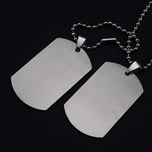 (Unlimit-X Dog Necklace - Personalized Engraving A Set of Two Pieces Men's Military Army Stainless Steel Blank Double Dog Tag Necklace Ball Chain 60cm)