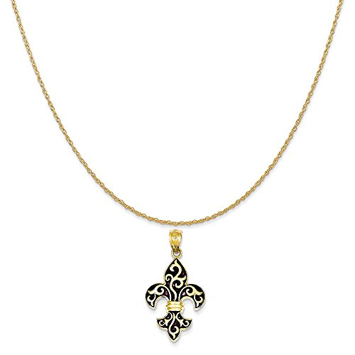 Mireval 14k Yellow Gold Enamel Fleur De Lis Pendant on a 14K Yellow Gold Rope Chain Necklace, 18