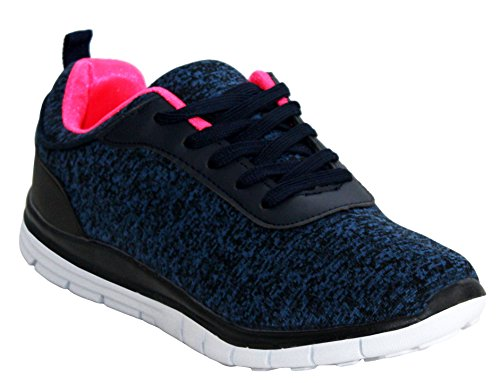 Ladies Womens Lightweight Lace Up Go Walk Textile Girls Running Sports Gym Trainers Pumps Shoes UK Sizes 3-8 Navy 97IlnSTVAy