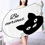 PRUNUS Quick Dry Bath towelCurious Funny Quote with a Kitty Face Motivational Pet Domestic Animal Graphic Black Absorbent Ideal for Everyday use