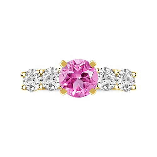 Diamond Scotch Simulated Pink Sapphire Birthstone Five Stone Solitaire Promise Commitment Engagement Ring Gift for Women Girl in 14K Yellow Gold Plated