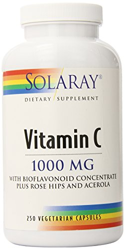Solaray C with Rose Hips, Acerola, Bioflavonoids Supplement, 1000mg, 250 (Solaray Skin)