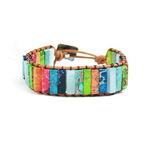 YGLINE Leather Chakra Handmade Imperial Jasper Wrap Adjustable Bead Bracelet (Multicolor-1)