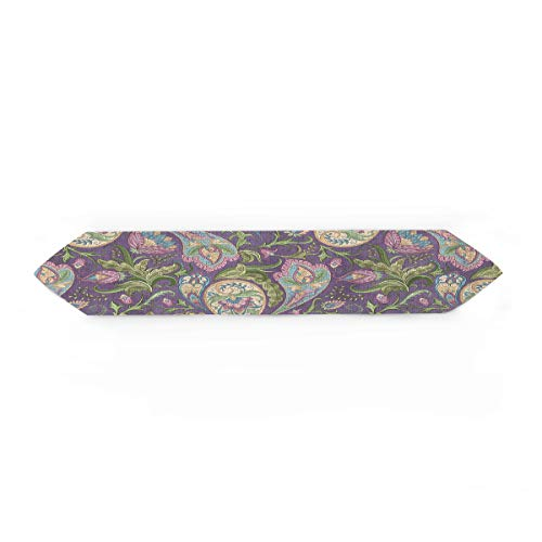 nian Pattern Traditional Asian Paisley Welsh Pears Table Runner for Morden Greenery Garden Wedding Party Table Setting Decorations 18x72inch ()