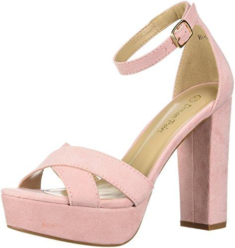 (DREAM PAIRS Women's HI-Go Pump, Pink Suede, 8 M US)