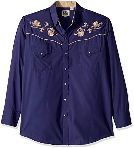 Emb Pocket - Ely & Walker Men's Long Sleeve Embroidered Shirt, Navy W Khaki EMB Large