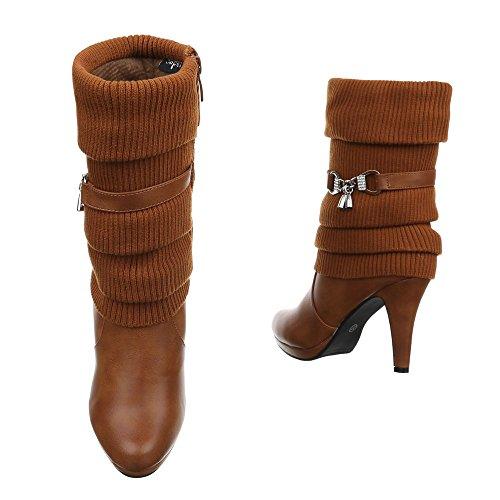 Damen Stiefeletten Schuhe High Heels Stiefel Schwarz Beige Grau Hellbraun 36 37 38 39 40 41 Camel