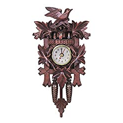 QZY Vintage German Cuckoo Clock,Mute Wall Clock Wood Bird Home Cafe Decorations