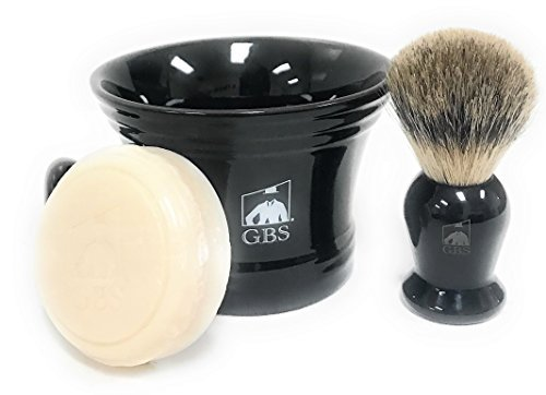 GBS Men's Classic Shaving Set - For Ultimate Old School Wet Shaving/Grooming Experience Pure Badger Brush, Ceramic Shaving Bowl/Mug + Natural Soap Compliments any Razor Tool To Shave & Shape Beard G.B.S