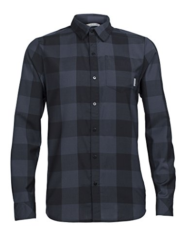 Icebreaker Merino Men's Departure Ii Long Sleeve Woven Shirt Plaid, Black/Stealth, Large