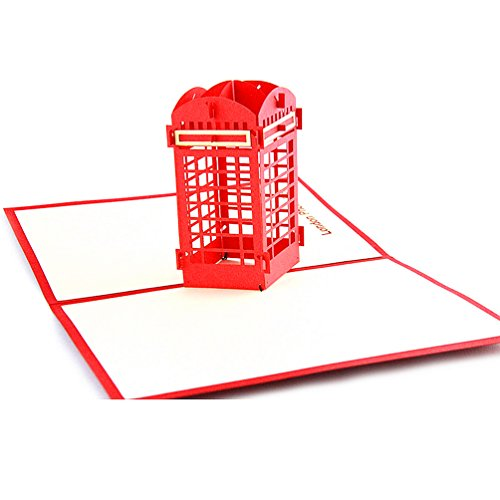 Medigy 3D Pop Up Greeting Cards Blank Cards for Most Occastions (Phone booth) -