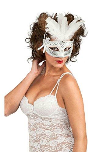 Black White Silver Feather Venetian Carnival (Silver Sequin Eyemask)