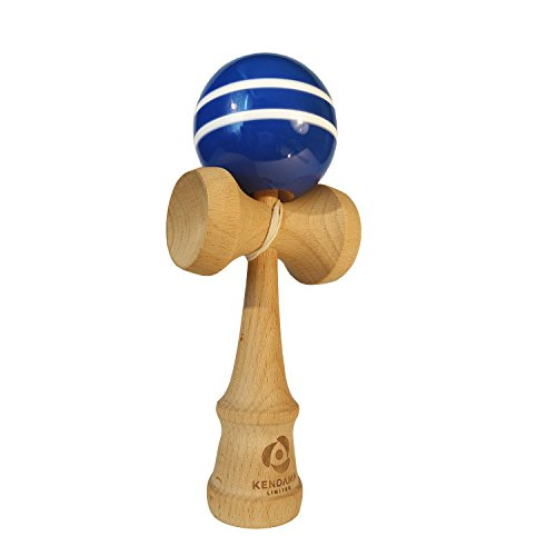 Japanese Kendama Wooden Toy Ball Game- Extra String- Traditional Standard Size Kendama, Blue with White Stripes