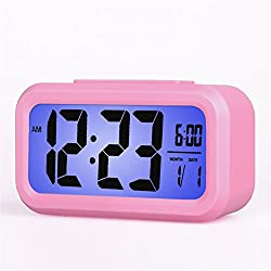 Smart Backlight Alarm Clock Mute Silent LCD Electronic Travel Clock With Large Display And Big Numbers Date and Time Display HA11-6(pink)