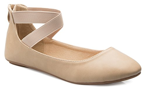 OLIVIA K Women's Elastic Cross Strap Slip On Sandal - Comfortable Closed Toe Ballet Flats - Low Ankle Strap Shoe by OLIVIA K