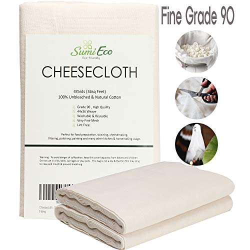 Sumi Eco Cheesecloth, Grade 90, 36 Sq Feet | 100% Unbleached Cotton Fabric | Reusable Ultra Fine Strainer for Cooking - Nut Milk Bag, Filter (Grade 90-4Yards)