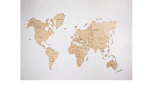 Amazon.com: World Map, Wood Wall Art, Wood World Map, Map of ...