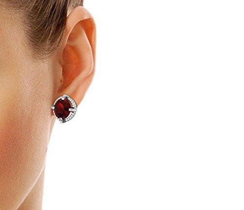 Libertini Boucle d'oreille argent 925 plaque or Rose serti de Diamant et Grenat