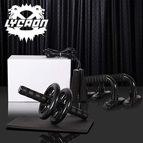 LYCAON Juego de rodillos de rueda Ab 4 en 1 incluye rodillo de rueda Ab, barra de empuje, cuerda de saltar y rodillera, kit de rueda de rodillo para perder peso, fitness, ejercicio músculos abdominales, ejercicio en casa, gimnasio 9