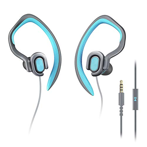 MUCRO HD Stereo Wired Sports Headphones with Detachable Earhook, Sweatproof Earphones with Microphone for Gym Running Jogging Workout, Lightweight in Ear Earbuds (Blue)