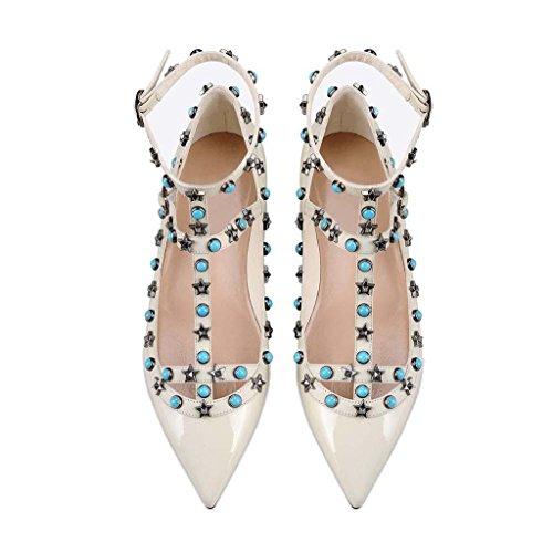 SHEO sandalias de tacón alto Remaches de las mujeres solo zapatos laca clavo hebilla zapatos planos puntiagudos E