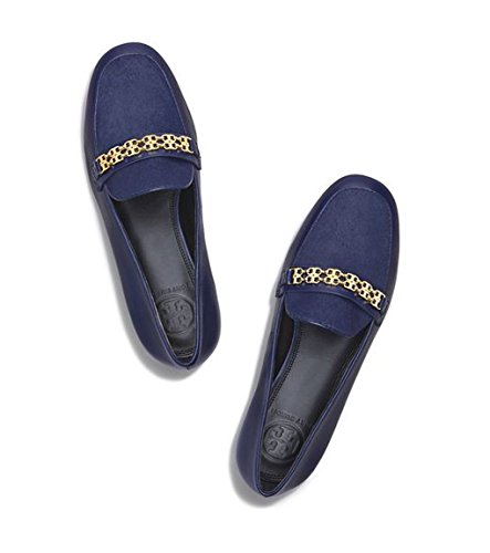 Tory Burch Navy Blue Gemini Link Calf Hair Loafer Shoe -S...