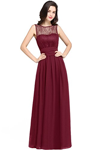 Babyonlinedress Lace chifon Long dress for Maid of honor,Burgundy,4