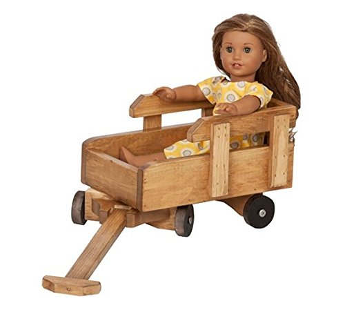 12 - 18 Inch Doll Pull Wagon Play Accessory USA Handmade, Natural Finish by Clip Clop