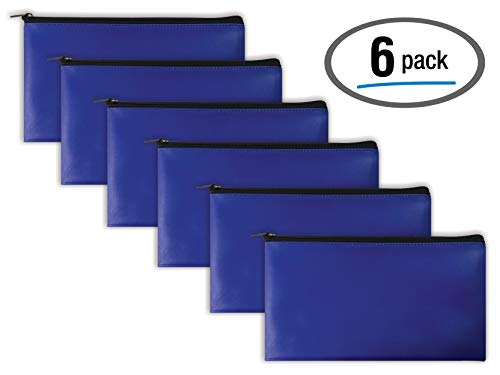 Bank Deposit Bag - 6 Pack, Zippered Security Bank Deposit Bag, by Better Office Products, Leatherette, Cash Bag, Coin Bag, Utility Pouch, Blue, 6 Bags