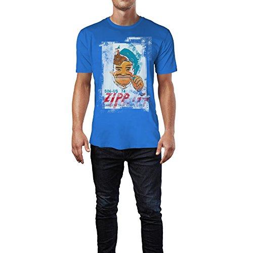 SINUS ART® Zip It – Careers Talk Cost Lives Herren T-Shirts stilvolles royal blaues Fun Shirt mit tollen Aufdruck
