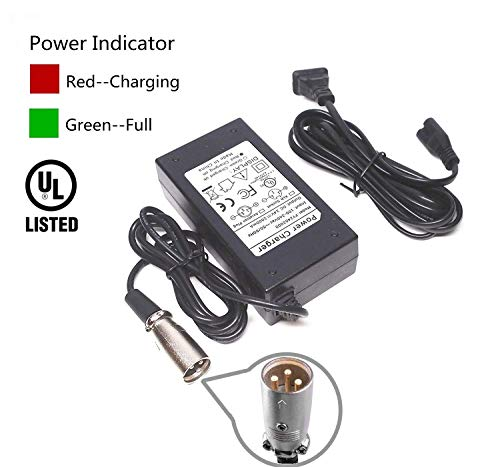 (EPtech 24V 2A Scooter Battery Charger for Jazzy Power Chair,Pride Hoveround Mobility,Schwinn S300 S350 S400 S500 S650,Ezip 400 500 650 750 900 Mountain Trailz,Shoprider,Golden Buzzaround)