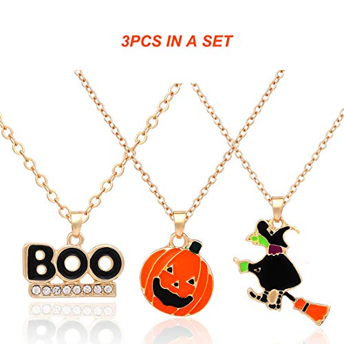 XOCARTIGE Halloween Necklace Set Ghost Pumpkin Boo Cat Pendant Necklaces Party Gift for Girls Women(3Pcs/4Pcs/6Pcs/8Pcs) (A 3PCS)