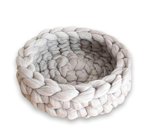 Apricot Pet Bed,Cat Bed,Knit Pet Bedding,Hand Knitted Cat Bed,Wool Pets Bed,Pet Supplies,Knit Bed,Chunky Knit Pet Bed,Diameter-14inch ()