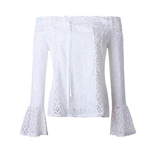 Manches Blanc Femme Top HOOUDO Longues Manches Longues Uq86pAx
