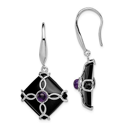 Rainbow Obsidian Goddess Pendant - 925 Sterling Silver Black Agate Purple Amethyst Drop Dangle Chandelier Earrings Fine Jewelry Gifts For Women For Her