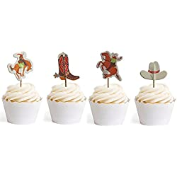 Cowboy Cupcake Toppers Cowgirl Themed Party Decorative 24pcs By GOCROWN